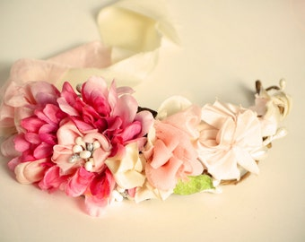 woodland fairy shabby chic boho bridal wedding hair wreath headband with handmade silk florals
