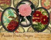Vintage Flowers 30mm x 40mm Ovals Digital Collage Sheet --instant Download