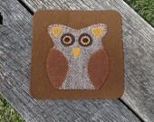 Odus Owl - Primitive Owl Penny Rug - Wool Owl