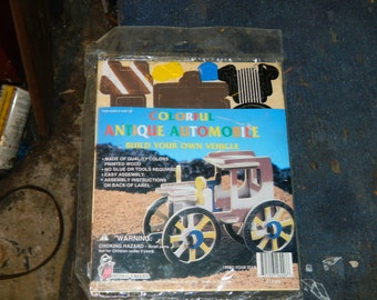 Nice Old Wooden Toy Car Kit, Wheels, Parts, Painted, Build Or Use For Parts