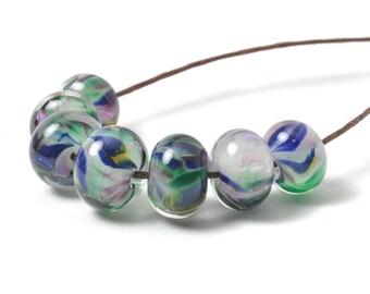 Lampwork Glass Beads | African Violet Glass Beads | Green Blue Purple Handmade Beads | UK SRA Artisan Beads