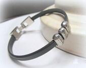 Men's Leather Bracelet Silver Bead Black Bracelet for Men Unisex Jewellery