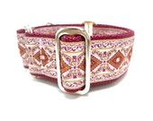 """Houndstown 1.5"""" Wine Diamonds Unlined Buckle or Martingale Collar, Any Size"""