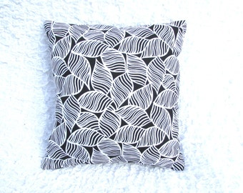 Black and White Throw Pillow- White Leaves. Removable cover
