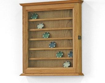 42 Challenge Coin Display Case Cabinet-Cherry Hardwood