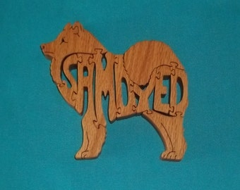 Samoyed Dog Breed Wooden Scroll Saw Puzzle