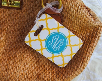 Personalized monogram luggage tag yellow teal or choose colors