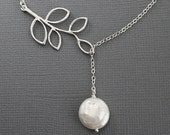 Silver Necklace. Branch and Pearl Necklace. Silver Branch Necklace, Nature Inspired Jewelry. Coin Pearl, Bridal jewelry,