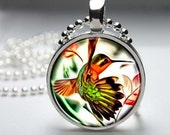 Green & Brown Hummingbird Acrylic Painting, Bird Resin or Glass Round Silver Plated Art Pendant, Ball Chain Necklace
