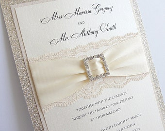 Glitter Invite, Wedding Invitation, Elegant Wedding Invitation, Rustic Wedding Invitation, Vintage Wedding Invitation,  COCO-SQUARE VERTICAL