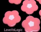 6 Huge Floral Acrylic Beads Charms. 2 Tones. Dark Pink. 31mm.