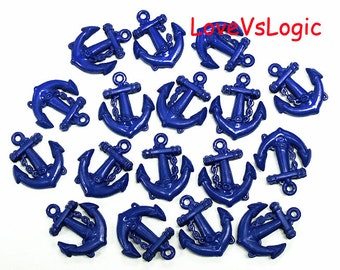 25 Baby Anchor Plastic Charms.Navy