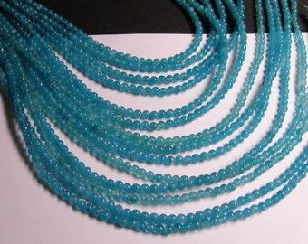 Blue sponge quartz - 4mm round beads -1 full strand - 97 beads - AA quality