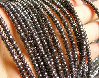 Hematite - 3x4mm  faceted rondelle  beads - full strand -145 beads - AA quality - CHG4