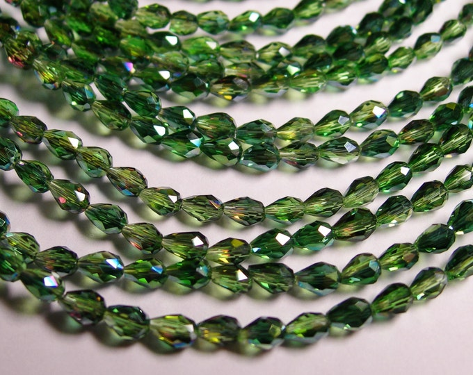 Faceted teardrop crystal  beads 100 pcs -3mm x 5mm - sparkle green - CLGD1