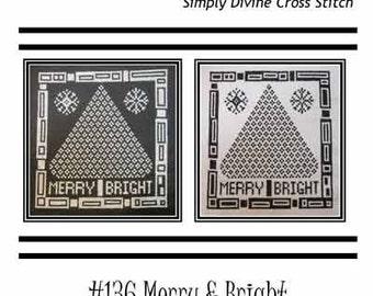 PDF E pattern emailed CHRISTMAS Tree Holiday Cross Stitch Pattern Sampler Design 136