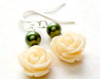 Peach Rose Dangle Earrings