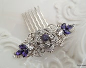 Bridal Purple Swarovski Crystal hair comb Wedding Comb Wedding Hair Accessories Vintage Style Purple Rhinestone Bridal Hair Comb ROSELANI
