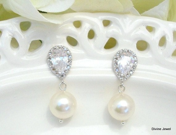 Bridal Earrings,Rhinestone Bridal Earrings,Swarovski Pearls, Cubic Zirconia, Classic Earrings, Rhinestone Pearl Earrings, Classic, AUDREY
