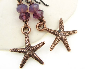 Starfish Jewelry Beach Jewelry - Star Fish Earrings - Copper Earrings with Purple Accents - Summer Ocean Sea Jewelry
