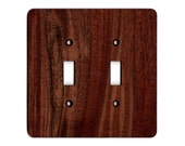 Black Walnut Hardwood Double Pole Light-Switch Plate - Solid Wood - Sustainable