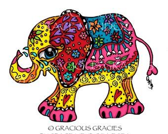 Rose Elephant Print