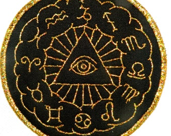 Golden Eye of the Zodiac Iron on Patch 5""
