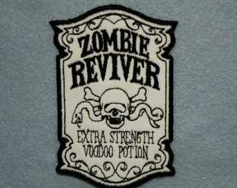 "Apothecary Zombie Reviver on Twill Iron on Patch 2.6"" x 3.9"""