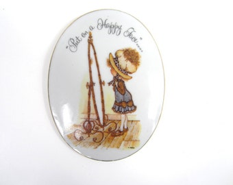 SALE Authentic Holly Hobbie Porcelain Wall Hanging - 1973