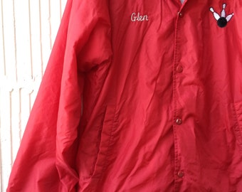 80s Red Bowling Jacket, Flannel Lined XL