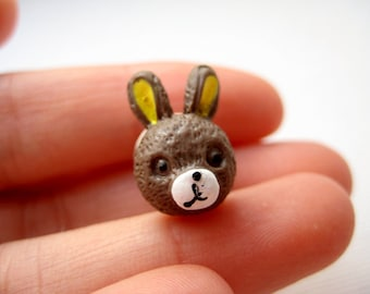Small rabbit head tie tack pin - Cottontail in Brown