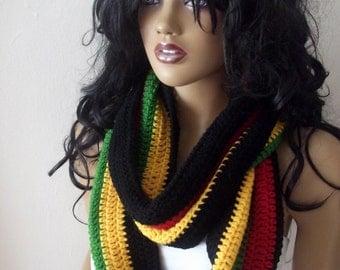 Crochet Rasta Scarf,Versatile bulky hood style cowl,Bob Marley,Rasta flag infinity cowl scarf neckwarmer,Multi Color Green Yellow Red Black