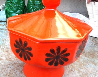 Mid Century covered bowl, dish, orange, sponge painted design