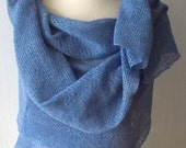 Linen Scarf Scarf Knitted Natural Summer Shawl  Wrap Natural Flax in Blue