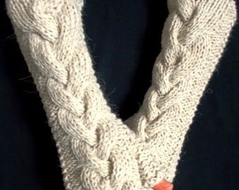 Handknit Fingerless Gloves Natural White/ Beige Cabled Wrist Warmers Warm in Wool Angora Acrylic