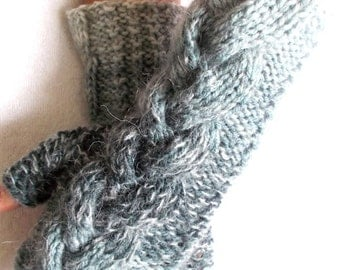 Knit Wrist Warmers Cabled Fingerless Gloves Grey Shades Warm and Soft