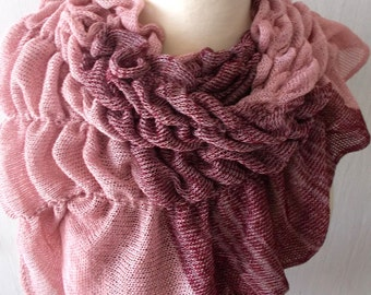 Linen Scarf Knit Cotton Shawl Wrap  Natural Summer Capelet in Pale/ Old Pink and Burgundy
