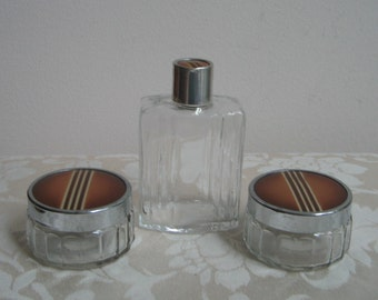 Art Deco Jars & Bottle Dresser Vanity Set In Clear Glass With Brown Metal Silver Stripes Cap Lids, Vintage Grooming Accessories Set of 3