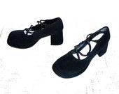 Vintage 90's MAINFRAME Chunky Mary-Jane Heels with Futuristic Elastic Cord Strings Women's Size 6 1/2