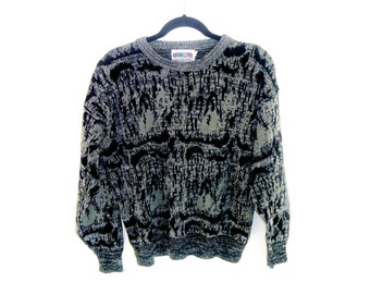 Vintage 80's Cropped Cosby Sweater with Modern Design Woven Knit Sweatshirt by Gimzo Men's Large