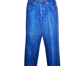 Vintage 1980's Lee Rider Denim Jeans with Unique Back-Pocket Stitching Tall Fit Women's Small