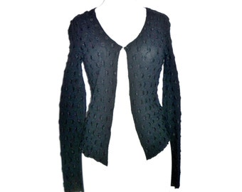 PSSST® Vintage 80's Discreetly Textured Pattern Single Button Cardigan Women's Size Small