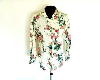 VIntage 90's Grunge-Era Floral Button-Down Shirt by Krazy Kat®