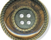 """Intrigue Buttons 1 1/8"""" Brass Brown four 4 hole JHB Coat Clothing Button Sewing Costumes"""