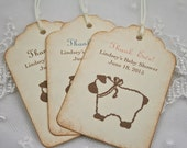 Lamb Tags Thank Ewe Personalized Baby Shower Tags Thank You Favor Tags Set of 10