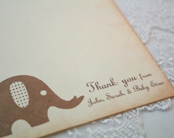 Elephant Thank You Cards Personalized Baby Shower Birthday Set of 10