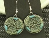 Earrings Artisan OOAK Turquoise Blue Triple Frond Stoneware Sterling Silver Earrings