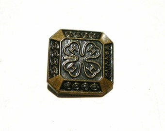 Vintage Small Lapel Pin 4H Club SECOND Bronze or Brass Tone Metal