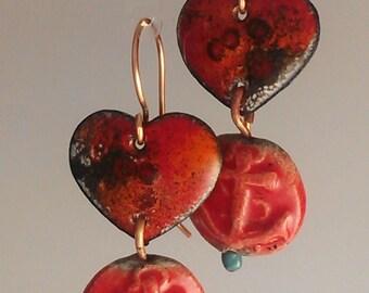 SALE! Enamel and Raku Earrings - Red Anchor