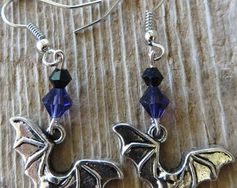 Halloween Vampire Bat Dangling Charm Earrings